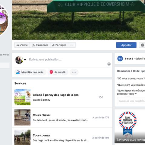Capture d'écran de la page Facebook du Club Hippique d'Eckwersheim