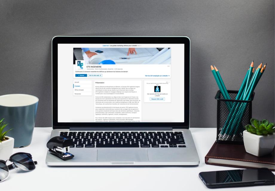 Mockup de la page Entreprise Linkedin de OTE Ingenierie