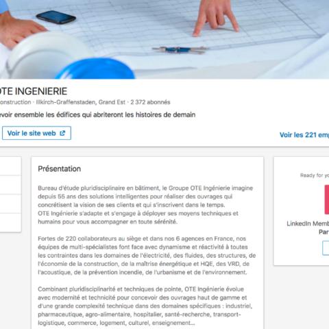 Capture d'écran de la description d'OTE Ingenierie sur leur page Entreprise LinkedIn