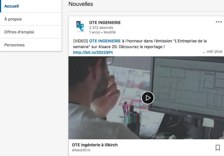 Capture d'écran d'une vidéo publiée sur la page LinkedIn de OTE Ingenierie