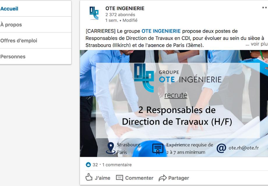 Capture d'écran d'une publication sur la page LinkedIn de OTE Ingenierie