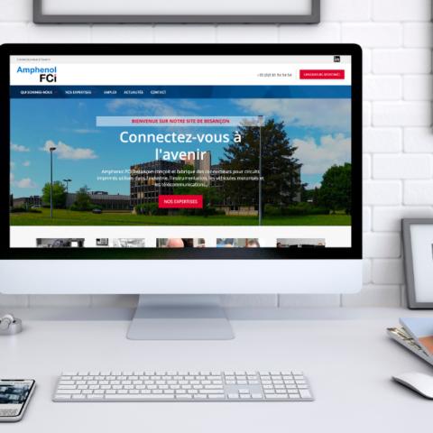 Mockup de la page d'accueil du site Internet de l'entreprise Amphenol FCI Besançon