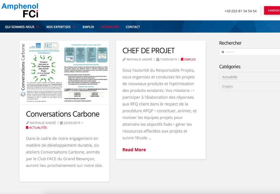 Exemple de présentation des offres d'emploi sur le site internet Amphenol FCi Besançon