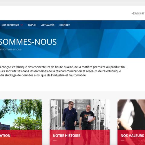 Capture d'écran de la page Qui sommes-nous du site internet d'Amphenol FCi Besançon