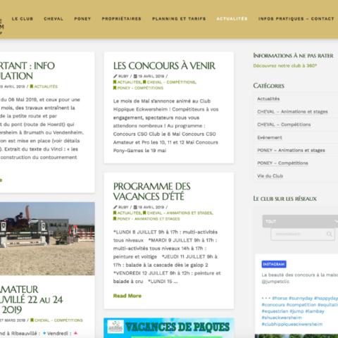Capture d'écran de la page Actualité du site internet Club Hippique d'Eckwersheim