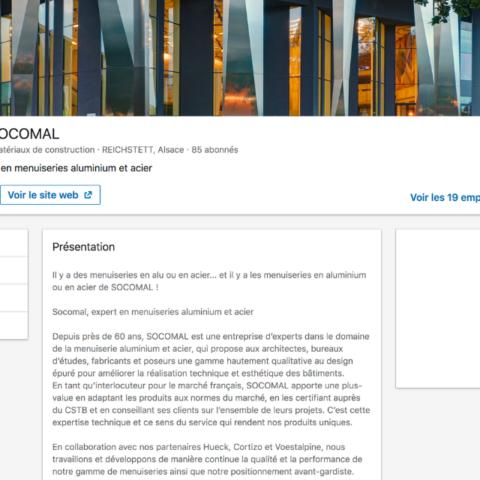 Présentation de l'entreprise Socomal sur LinkedIn