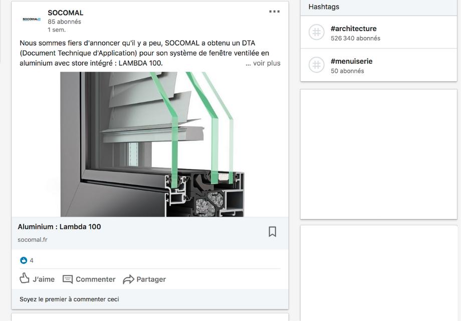 Exemple d'une publication sur la page Entreprise de Socomal
