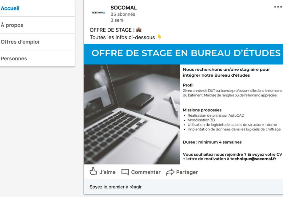 Exemple d'une offre d'emploi (stage) sur la page Entreprise LinkedIn de Socomal