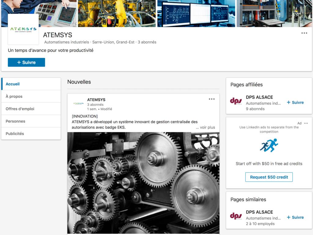 Capture d'écran de la page Entreprise LinkedIn de Atemsys