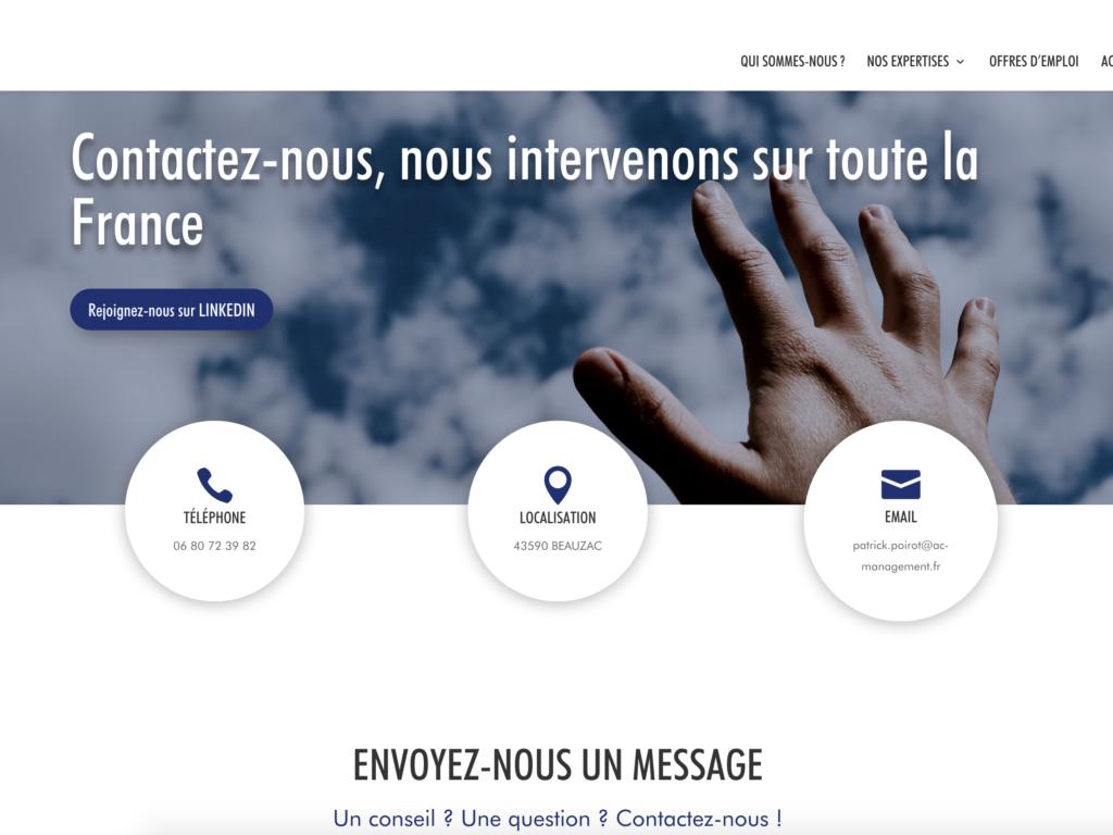 Capture d'écran de la page d'accueil de AC Management
