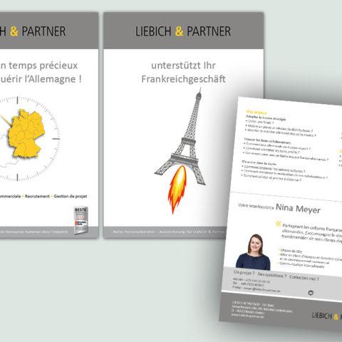 Réalisation de plaquettes commerciales en français et en allemand pour notre client Liebich & Partner