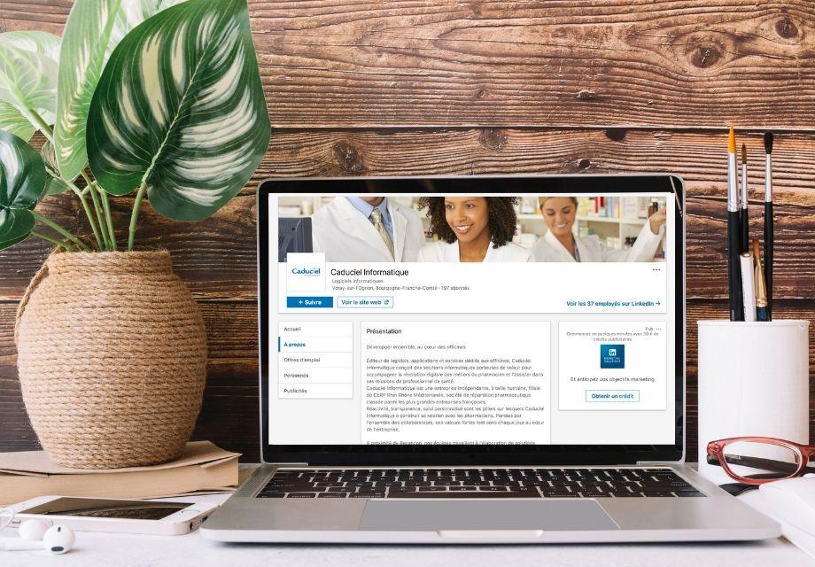 Mise en situation de la page Entreprise Caduciel Informatique sur LinkedIn