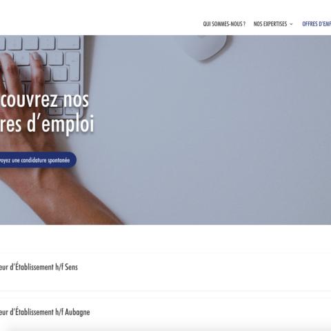 Capture d'écran de la page Offres d'emploi du site AC Management