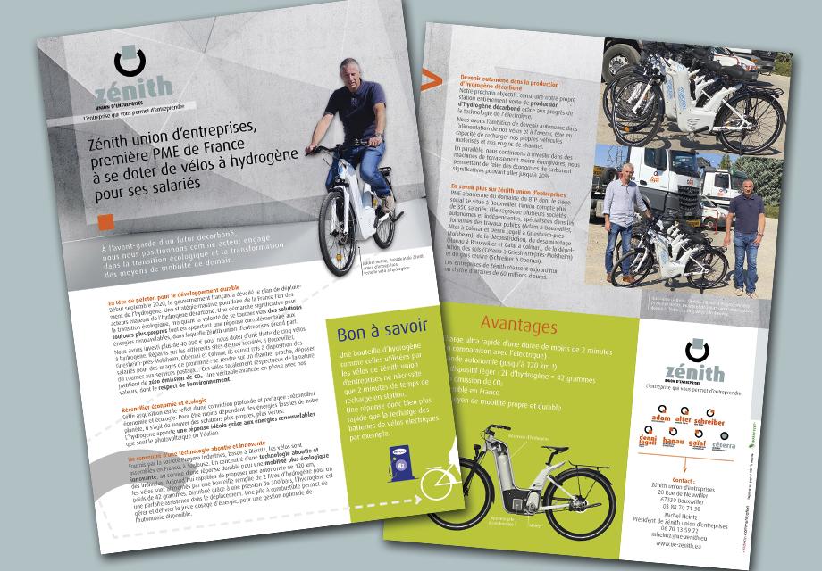 Flyer Zenith union d'entreprises sur les vélos à hydrogène